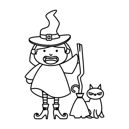 girl dressed up as a halloween witch with broom vector illustration Illustration