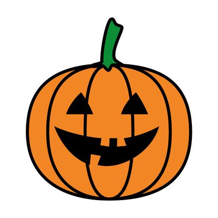 Diseño de ilustración de vector de personaje de calabaza de halloween feliz