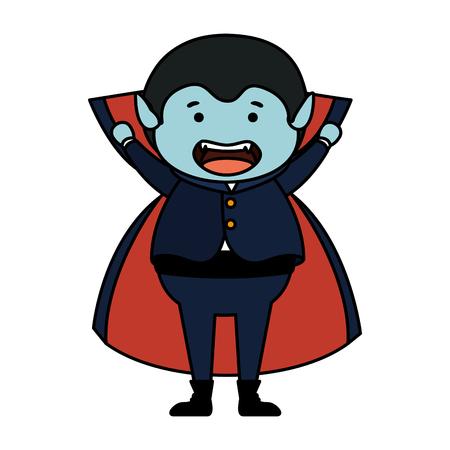 boy dressed up as a halloween dracula vector illustration design