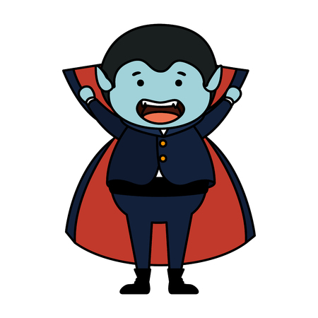 boy dressed up as a halloween dracula vector illustration design
