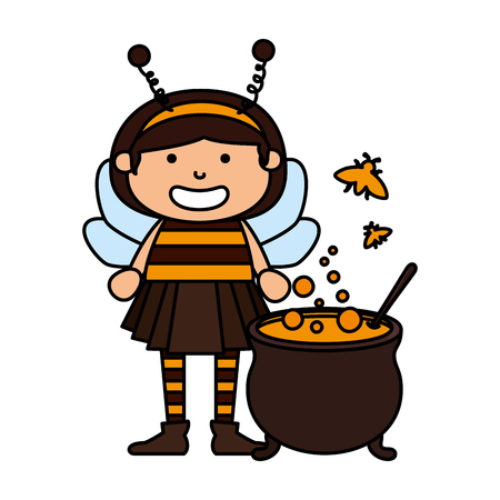 girl dressed up as a halloween bee with cauldron vector illustration Stock Illustratie