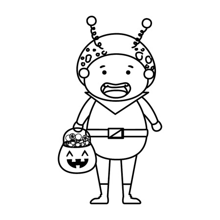 boy dressed up as a halloween martian with candies vector illustration
