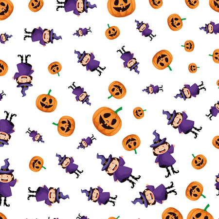girl dressed up as a halloween witches pattern vector illustration design
