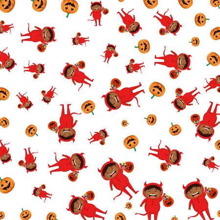 boy dressed up as a halloween devil pattern vector illustration  イラスト・ベクター素材