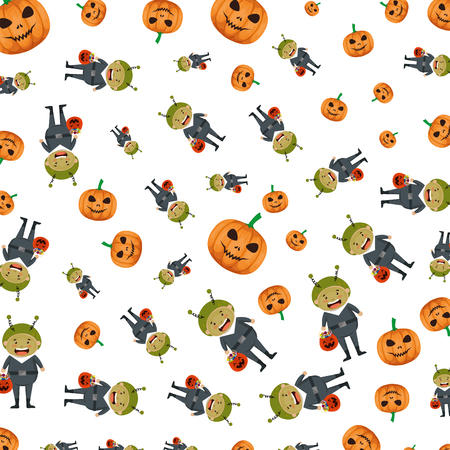 boy dressed up as a halloween martian pattern vector illustration