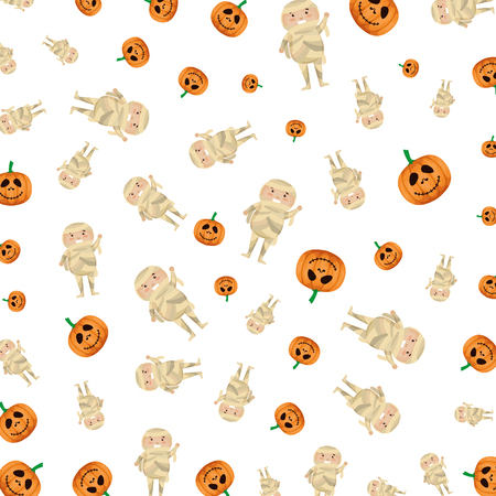 boy dressed up as a halloween mummy pattern vector illustration design