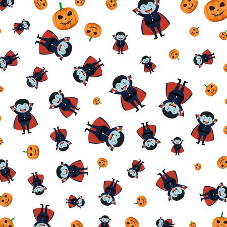 Garçon déguisé en halloween dracula pattern vector illustration design