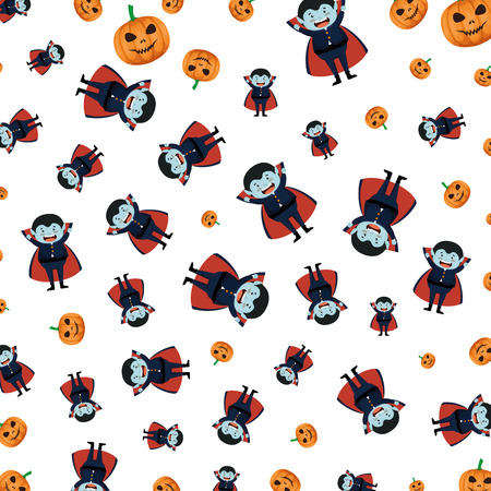 boy dressed up as a halloween dracula pattern vector illustration design