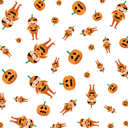 boy dressed up as a halloween pumpkin pattern vector illustration design