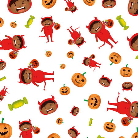 boy dressed up as a halloween devil pattern vector illustration Illustration