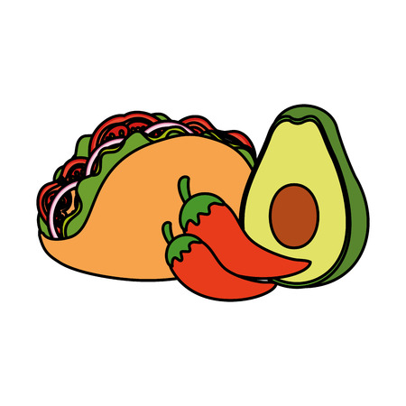 taco mexican with chili pepper and avocado vector illustration design