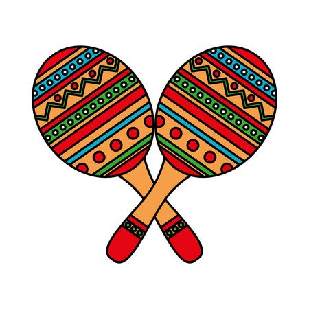 mexican culture maracas icon vector illustration design Çizim
