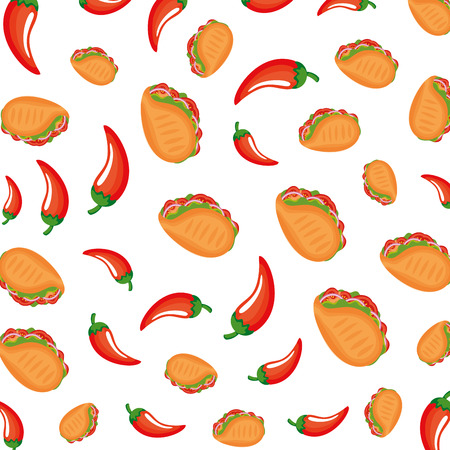 taco mexican food with chili peppers pattern vector illustration design