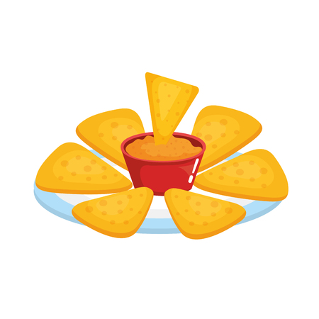 delicious mexican nachos with cheese sauce vector illustration design