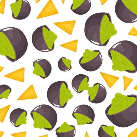 delicious mexican nachos and gucamole pattern vector illustration design