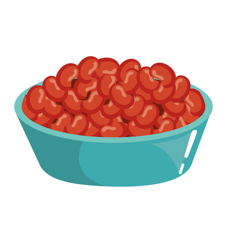 dish with mexican beans vector illustration design