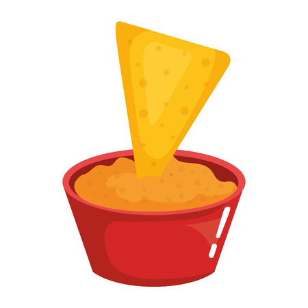 nacho with delicious cheese mexican sauce vector illustration design