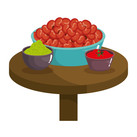 dish with mexican beans and sauces vector illustration design