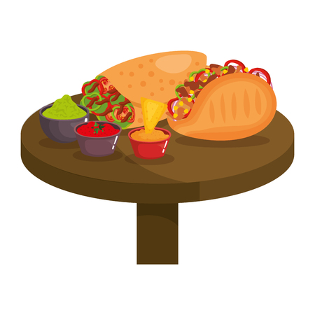 table with mexican food menu vector illustration design Illustration