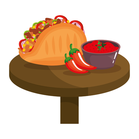 delicious mexican taco with chili pepper vector illustration design