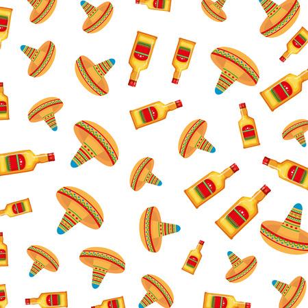 Sombreros mexicanos y botellas de tequila patrón, diseño de ilustraciones vectoriales