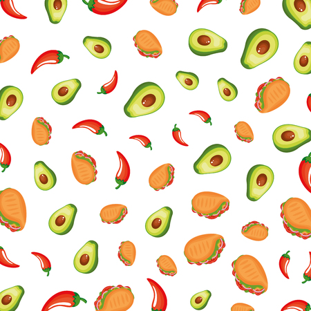 taco mexican with chili peppers and avocados pattern vector illustration