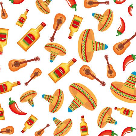 Chapeaux mexicains et bouteilles de tequila modèle vector illustration design Vecteurs