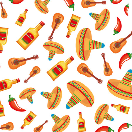 mexican hats and tequila bottles pattern vector illustration design