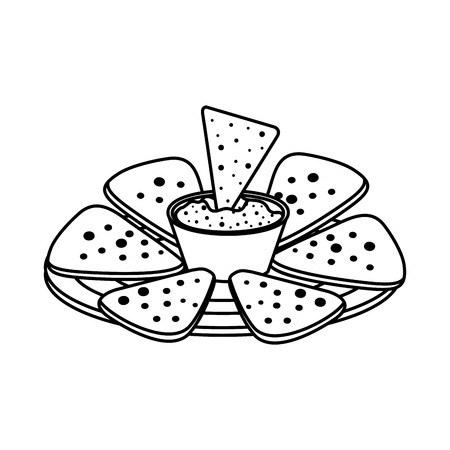 delicious mexican nachos with cheese sauce vector illustration design Illustration