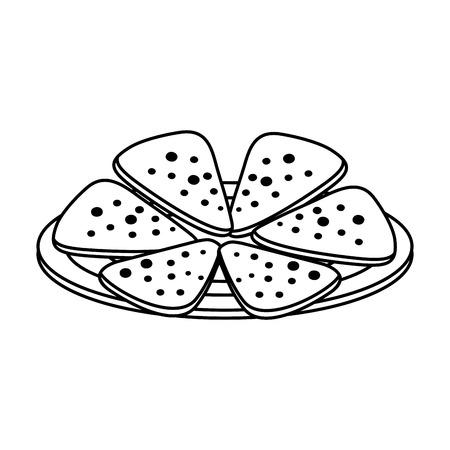 dish with delicious mexican nachos vector illustration design Illustration