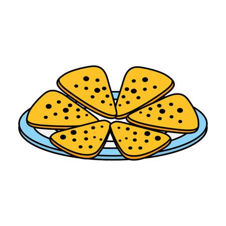dish with delicious mexican nachos vector illustration design Ilustração