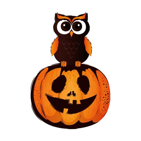 happy halloween owl with pumpkin vector illustration design