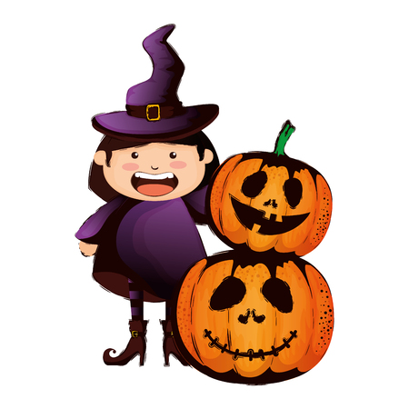 girl dressed up as a halloween witch and pumpkins vector illustration
