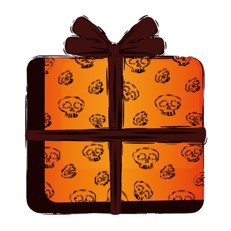 happy halloween giftbox with skulls vector illustration design