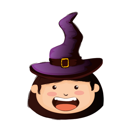 head girl dressed up as a halloween witch vector illustration design
