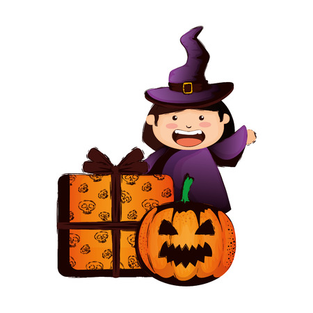 girl dressed up as a halloween witch and pumpkin vector illustration design Standard-Bild - 109687233