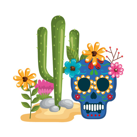 mask of the santa death with flowers and cactus vector illustration design Stock Illustratie