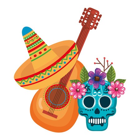 mask of the santa death with flowers and guitar vector illustration design