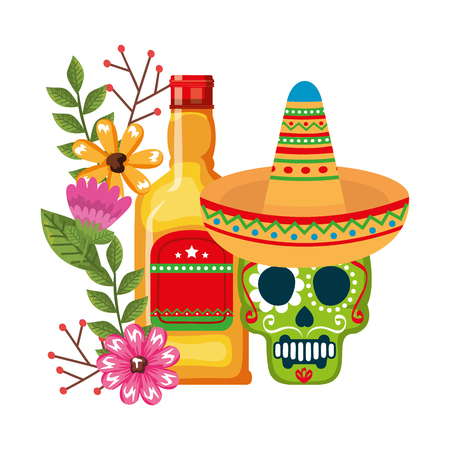mask of the santa death with flowers and tequila vector illustration