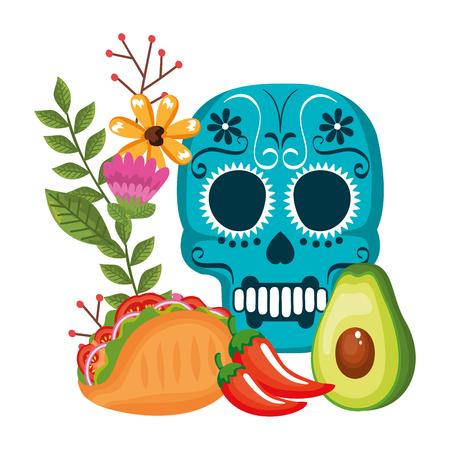 Máscara de la santa muerte con flores y comida, diseño de ilustraciones vectoriales