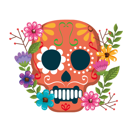 mask of the santa death with flowers vector illustration design Stock Illustratie