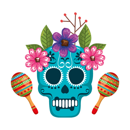 mask of the santa death with flowers and maracas vector illustration Stock Illustratie