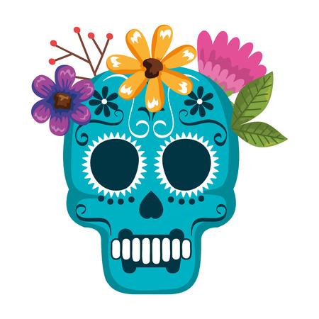 mask of the santa death with flowers vector illustration design Illustration