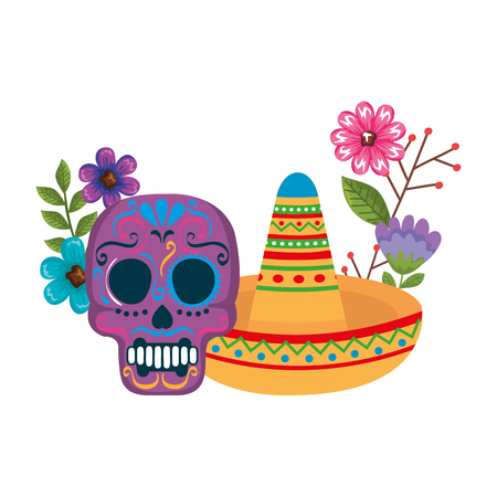 mask of the santa death with flowers and hat vector illustration design Stock Illustratie
