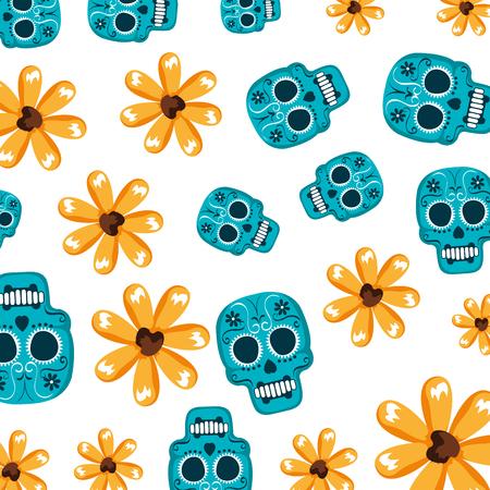 mask of the santa death with flowers pattern vector illustration design Illustration