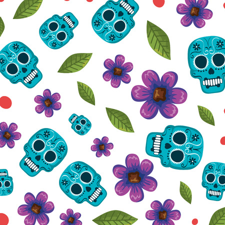 mask of the santa death with flowers pattern vector illustration design Stock Illustratie
