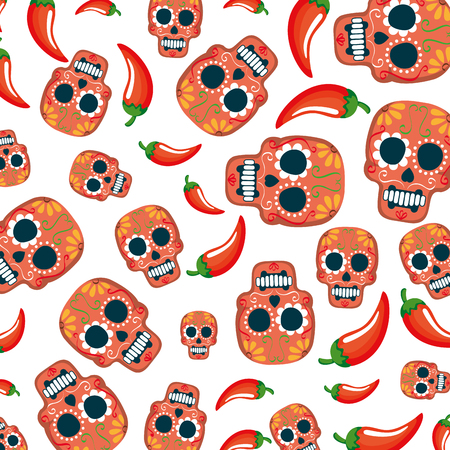 mask of the santa death pattern and chili peppers vector illustration