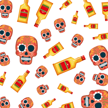 mask of the santa death and tequila pattern vector illustration design