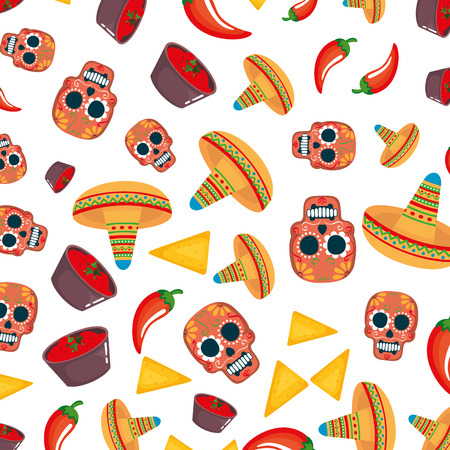 mask of the santa death with food and hat pattern vector illustration