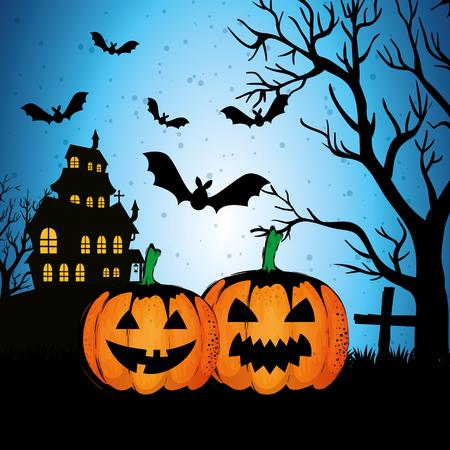 Castillo encantado de Halloween en la noche, diseño de ilustraciones vectoriales